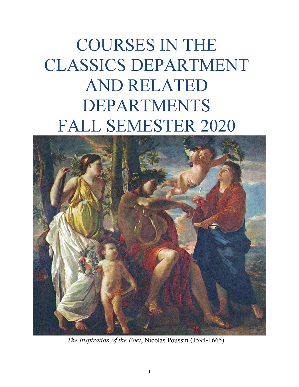 Fall 2020 Classics Course Catalog Cover